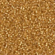 15/0 Japanese Miyuki Matte Silver Lined Dark Gold Seed Beads