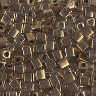 Japanese Miyuki 4mm Square Metallic Dark Bronze Beads 15 grams