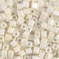 Japanese Miyuki 3mm Square Cream Ceylon Beads 15 grams
