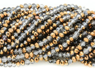 Chinese Crystal Gray Transparent and Metallic Bronze Rondelle 8mm