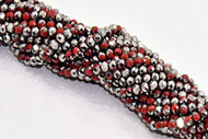 Chinese Crystal Red and Silver Rondelle 9mm