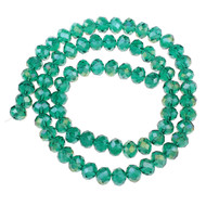 Chinese Crystal Turquoise Green AB Rondelle 7mm