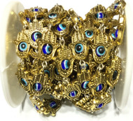 Gold Fatima Hand of Protection with evil eyes Beaded Chain Beading Supplies