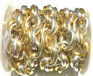 2 tone Gold and Silver cable Chain unsoldered links- Beading Supplies