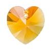 14mm Authentic Genuine Czech Preciosa Crystal Heart Topaz AB