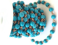 3Feet Gemstone Turquoise Beads Copper plated link Rosary Chain-6mm Rosary Findin