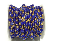 3Feet Gemstone Blue Jade Beads Gold plated link Rosary Chain- Beading Supplies
