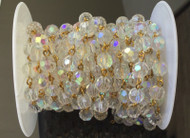 3Feet Gemstone Crystal AB Beads Gold plated link Rosary Chain-8mm Beads
