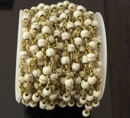3Feet Gemstone 4mm Howlite Beads Gold plated link Rosary Chain- Beading Supplies