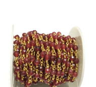 3Feet Gemstone Dk Red Jade Beads Gold plated link Rosary Chain- Beading Supplies
