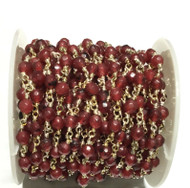 3Feet Gemstone Dk Red Beads Silver plated link Rosary Chain- Beading Supplies