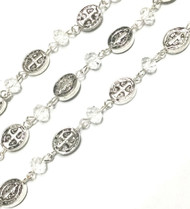 3Feet Antique Silver Jesus & Cross Crystal Rosary Chain- Beading Supplies