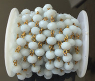 3Feet White Alabaster facete Rondelle Beads Gold plated link Rosary Chain-8x6mm