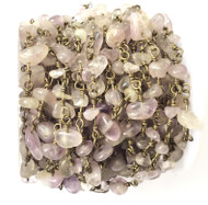 Rose Quartz Chips beads /W Bronze linked Rosary Chain- Beading Supplies