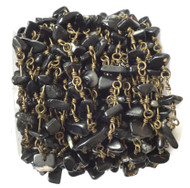 Onyx Chips beads /W Bronze linked Rosary Chain- Beading Supplies