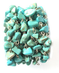 Turquoise Chips beads /W Silver linked Rosary Chain- Beading Supplies