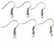 250 Antique Bronze Ear Ball wire Hook- Jewelry Earring Findings