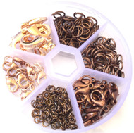 350 Gold Plated/Copper Jump ring and lobster clasp closure Assorted Jewelry Supplies