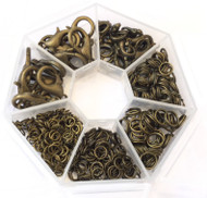 350 Antique Bronze Jump ring and lobster clasp closure Assorted Jewelry Supplies