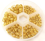350 Gold Plated Jump Rings Assorted Jewelry Supplies