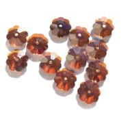 11mm Flower Margarita Dark Burnt Orange Swarovski Crystal Beads