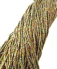 12/0 Charlotte 3Cut Czech Met Gold Iris Glass Seed Beads-full Hank