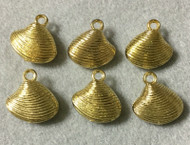 6 Shiny Gold light weight Clam shell shape charms-Drop