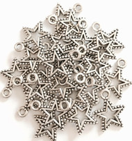 15 Pieces of Silver Mini Roped Border Star Charms
