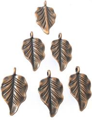 12 Fancy Antique Copper leaf charms-Pendant-Jewelry Supplies