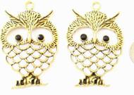 Antique Gold Basket Owl Animal Charm- Beading Supplies