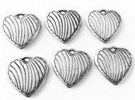 6 Antique silver plated heart charms