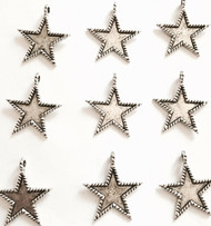 15 Pieces of Silver Roped Border Star Charms