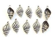 12 Pieces of Sally's Seashell Antique Silver Charm- Jewelry Supplies