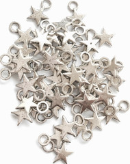 15 Pieces of Silver Smooth Night Star Charms
