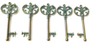 5PCS Green Patina Key to Your Heart charms-Pendant