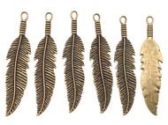 6 Antique Brass Fine Leaf Charms