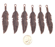 6 Antique Bronze Fine Leaf Charms