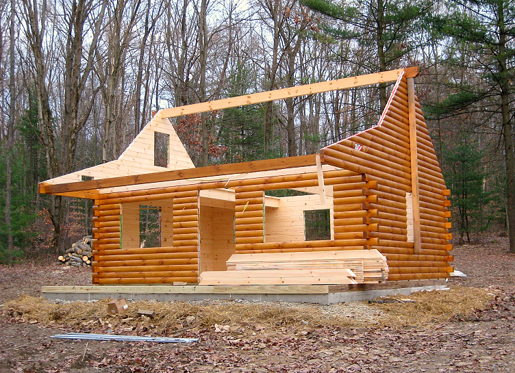 Installation of a 16x24 Pioneer Deluxe Cabin built on site in Freedom, PA.