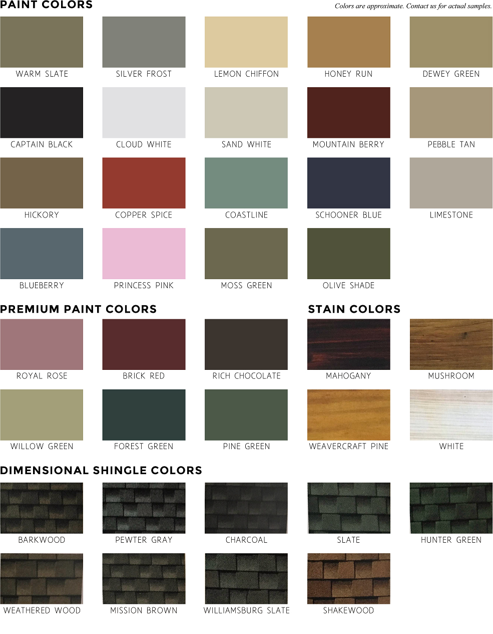 Playhouse Color Options