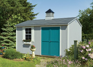 "10x14 Hartford with Ocean Mist siding, Devon Cream trim, Turquoise Pushbar doors, Medium Gray shingles, 24""x36"" aluminum window with Z-style shutters, cedar flower box, and large curpola."