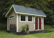 """10x14 Springfield. SmartSide siding painted Latte with Barn Red doors, Devon Cream trim and Pewter accents on the window frames and grills. Medium Gray shingles, Archtop door, strap hinges, 28""""x29"""" woodframed windows, 60""""x10"""" aluminum window."""