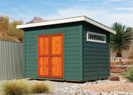 """8x10 Elliot. LP lap siding painted Still Water with Soft White accents, 54"""" Pushbar doors in pine with Ultra-7 cedar stain, Medium Gray shingles, 60""""x10"""" window."""