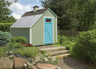 Willow siding with Devon Cream trim and a Cool Blue door. Weathered Wood shingles, Craftsman Braced door and a cupola.