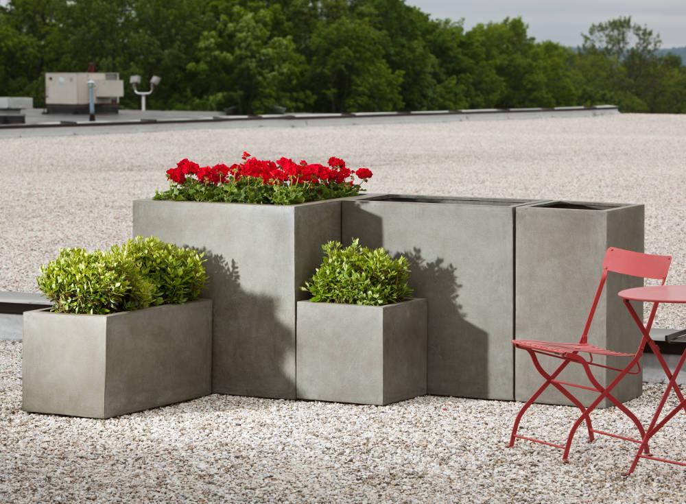 Low Lite rectangle concrete finish restaurant planter