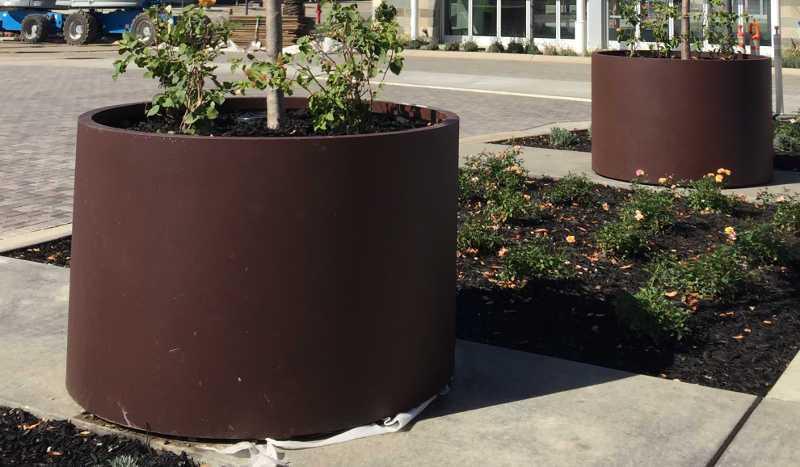 Cylinder Planters at Yard Art
