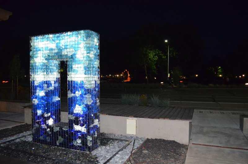 LED Gabion Fountain at Night