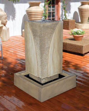 Ribbed Monolith Fountain (GFRC in Ancient finish)
