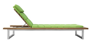 OKO Single Lounger - Stainless Steel, Recycled Teak, Sunbrella Canvas (Macaw)