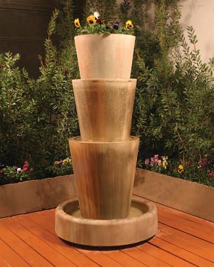 Tri Level Jug Fountain with Planter (GFRC in Orlona finish)