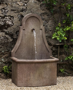 Closerie Wall Fountain (Cast Stone in Limestone finish)